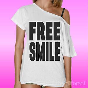 T Shirt Donna Collo Barca Maglia Free Smile Sorrisi Gratis Road