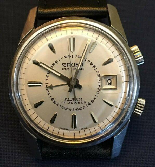 Vintage Gruen Alarm Manual Wind Wristwatch 17J Stainless Steel Case Running