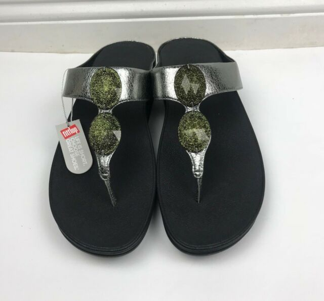46ce47d627cadd FitFlop Pierra Pewter Toe Post Silver Beaded Thong Sandals Sz 11 NWT