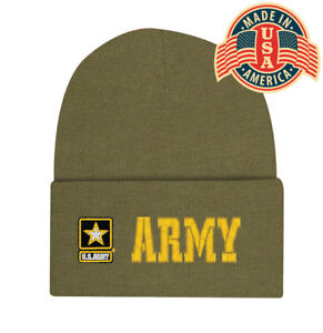 Embroidered Army Green Military Logo Star Beanie Stocking Watch Cap Hat Licensed