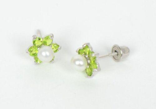 14k White Gold Flower CZ Stud Earrings White Pearl with Screw Back