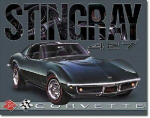 1968 Stingray Corvette 427 Tin Sign Metal Poster Vintage Garage Wall