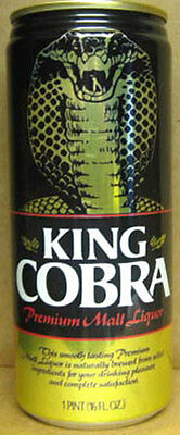 KING COBRA MALT LIQUOR 16oz Beer CAN w/ large SNAKE Budweiser, MISSOURI 1984, 1+