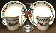 FARM FRESH HOMEMADE Lot PLATES Cups Mugs Corelle Red Green Fruit Jam Jelly GLASS