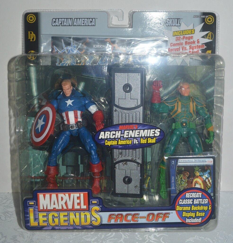 CAPTAIN AMERICA vs RED SKULL Marvel Legends Face-Off 6  Variant Set 2006 MIP
