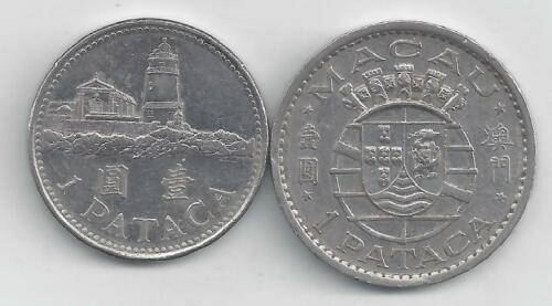 2 TYPES 2 DIFFERENT 1 PATACA COINS from MACAU DATING 1968 /& 2007
