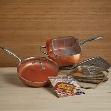 "* New Copper Chef Pro 7pc Cookware Set 11"" Square & 12"" Round Fry Pan w/Lids NIB"