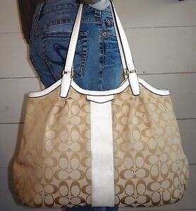 31f59f16da Image is loading Coach-Devin-Signature-Stripe-Tote-Handbag-White-Leather-