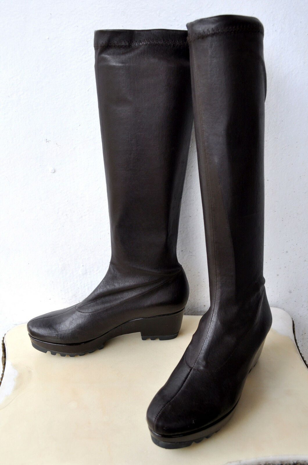 Robert Clergerie Knee High Stretch Leather Wedge Boots Sz 6.5 B France SOLD OUT!