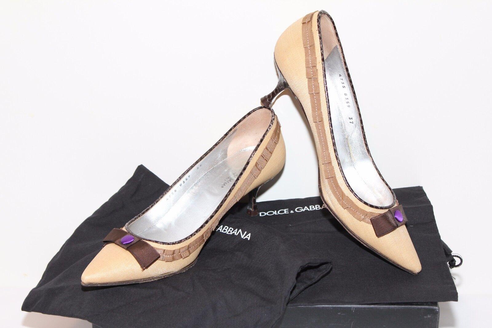 Descuento barato Dolce&Gabbana Leder Leinen Pumps Schuhe Gr 37 Neuwertig Beige !Prachtstück X2134