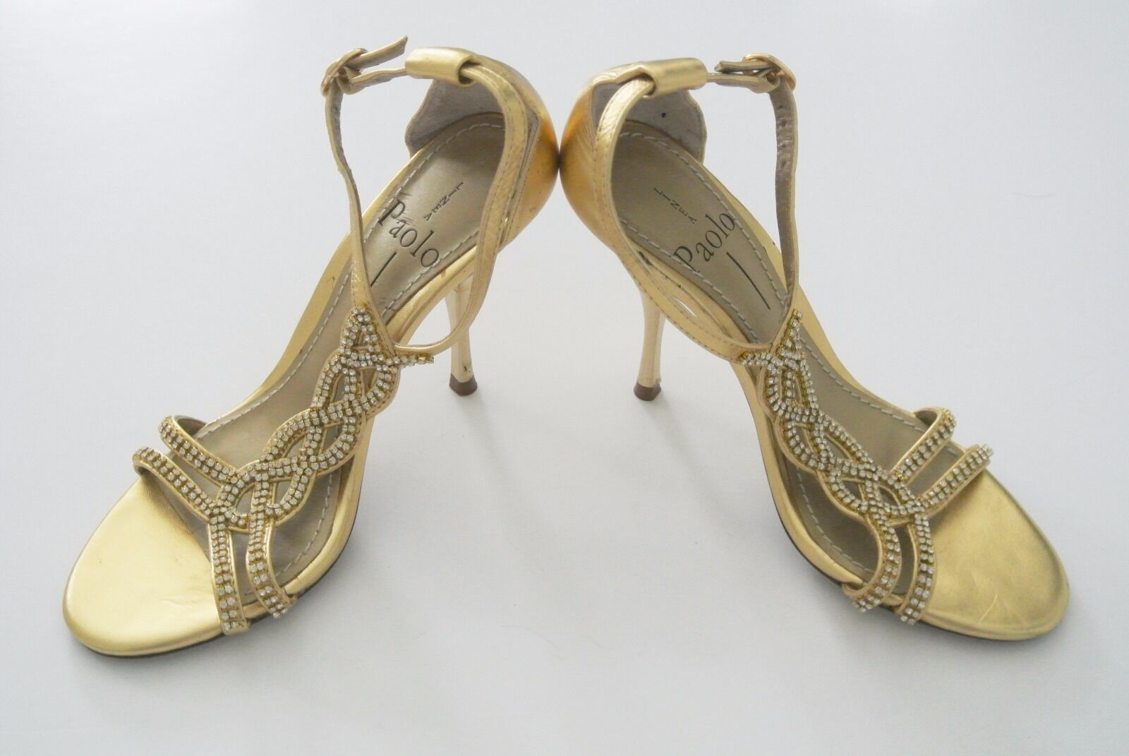 Gold w/ Crystal Embellishments LINEA PAOLO Strappy 4-in Heels Sandals, Sz 4M
