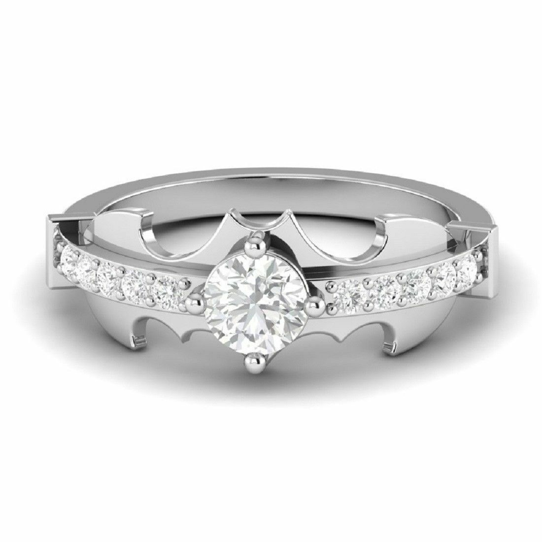 Certified 2.45Ct White Diamond Batman Design Engagement Ring in 14K White gold