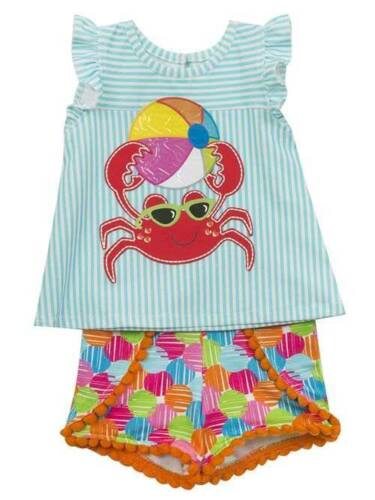 Rare Editions Turquoise Striped Crab Short Set  6 12 18 24 Months