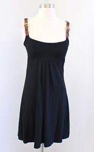 Vtg Cache Black Knit Brown Gold Buckle Strap Sleeveless Dress Size M