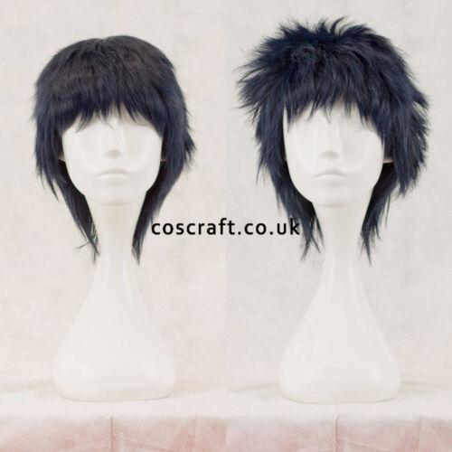 Short layered fluffy spikeable cosplay wig UK seller darkest blue Jack style