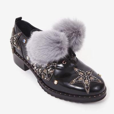 Ivy Kirzhner Barnum Black Leaher Menswear Inspired Bejeweled Lace Up Oxfords 8