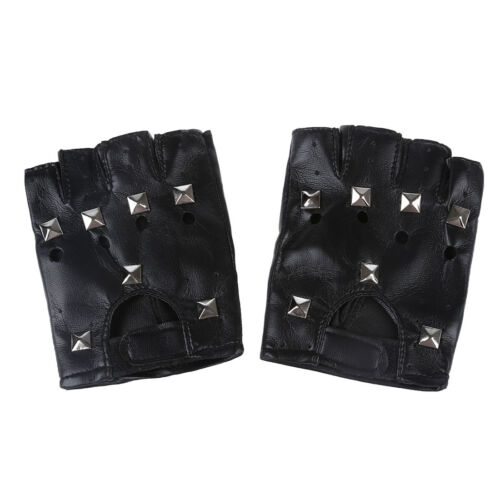 Women/'s Fingerless Rivet Black Glove G3G1