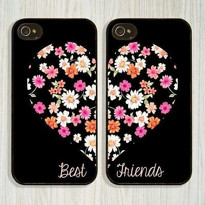 Best Friends Style Flowers Soft TPU Cover Case For iphone 5 5s 6s 7 8 Plus X