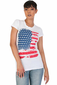 Women-039-s-Juniors-Patriotic-Casual-Graphic-Print-Short-Sleeve-T-Shirt-Top