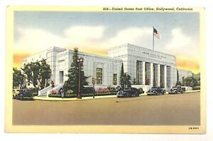 United-States-Post-Office-Hollywood-California-CA-Street-View-Vintage-Postcard