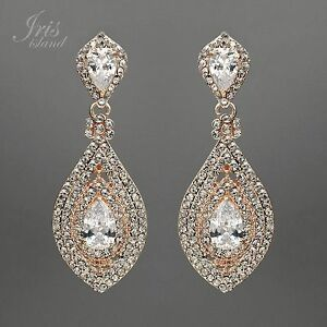 Image Is Loading Rose Gold Plated Clear Crystal Rhinestone Cz Bridal
