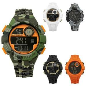 Orologio-Uomo-SUPERDRY-RADAR-SYG193-Silicone-Camouflage-Militare-Nero-Blu-Bianco