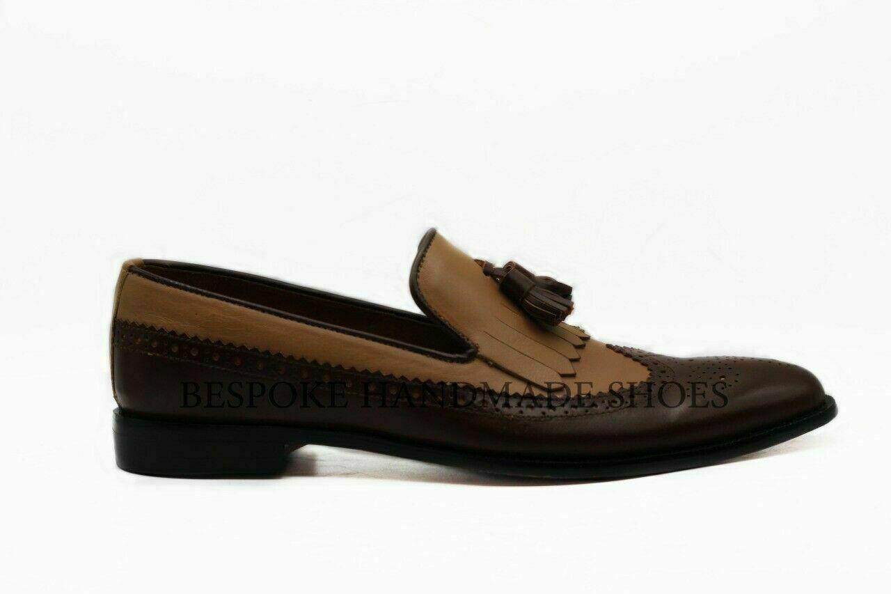 Handgemachte Herren echte braune Leder & Wildleder Loafers & Slip Ons Schuhe