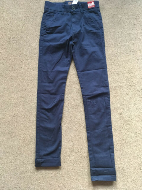 8d405688de NEXT Boys Navy Blue SKINNY Chino Smart Trousers Age 11 Years Slim Fit