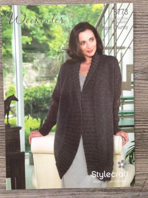 "Stylecraft Knitting Pattern 8661 Ladies Coatigan Long Jacket Super Chunky 28-46/"""