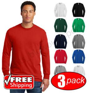 d739a7e0 3-PACK Gildan Heavy Cotton Long Sleeve T Shirt Mens Blank Casual ...