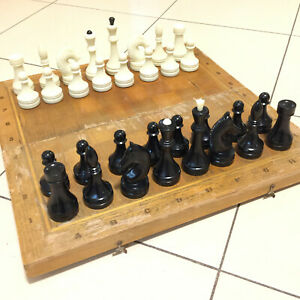 Chess-Vintage-USSR-Soviet-Set-Wooden-Russian-Full-Tournament-Antique-Old-Rare