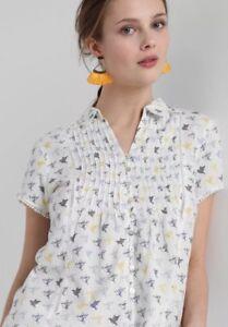 WHITE-STUFF-Ami-Bird-shirt-top-blouse-blue-yellow-100-cotton-RRP-37-50-UK-8-16