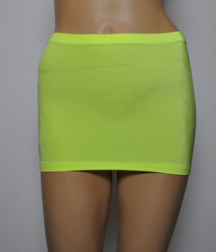 "Micro Mini Skirt Yellow UV Neon Flo Sport Party Club 9/"" Rave Festival Lycra CS6"