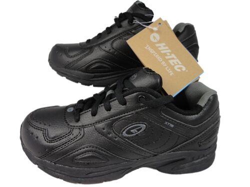 Boys Hi-Tec lace up Plain Black Trainer Shoes School Casual 13-6 good sole