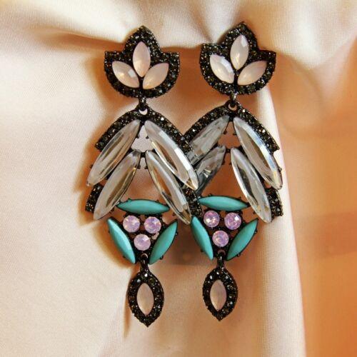 Boucles d/'Oreilles ClipS Longue Pendante Vintage Noir Bleu Rose Cadeau X4