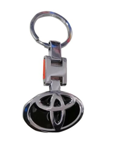 TOYOTA Authentic Chrome Tear Drop Style Key Fob Key ring Key chain Lanyard Tag
