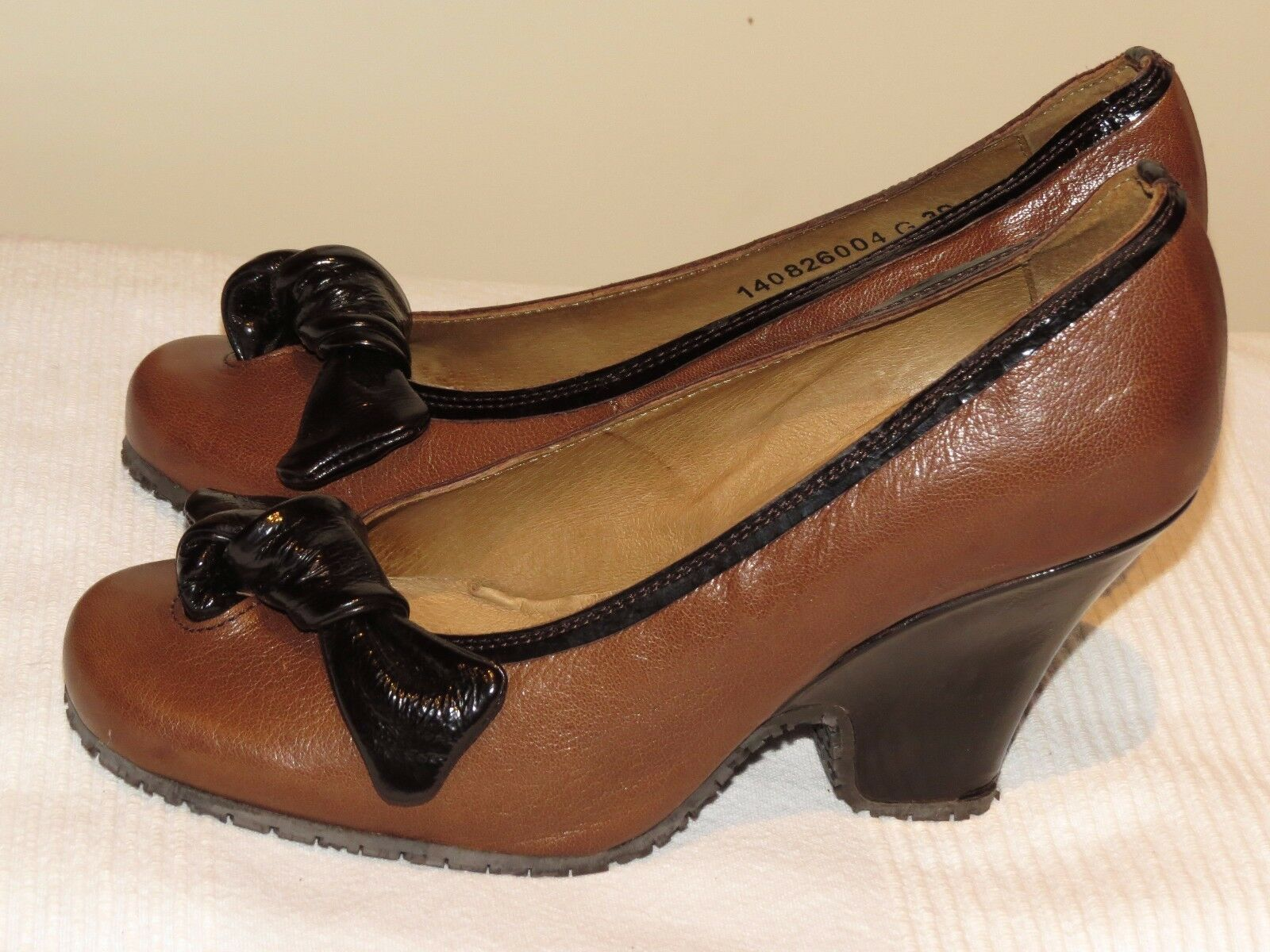 Fly London Fly Girl Grand En cuir marron court chaussures heels uk 6 eur 39