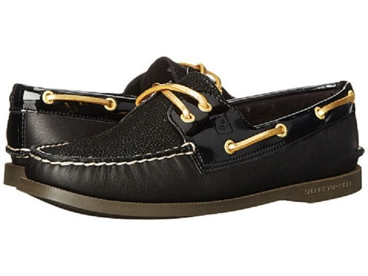 New in Box Sperry Top Sider A O 2 Eye Caviar Noir Chaussures bateau-Taille 9.5