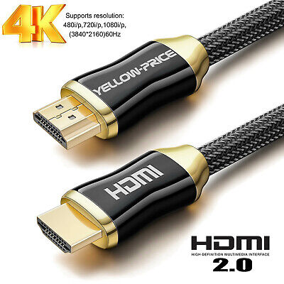 25FT Braided UltraHD HDMI Cable 2.0 HighSpeed HDR HDTV 2160p ARC 4K GOLD BLK lot