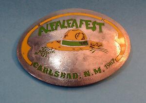 Rare-Vintage-1987-Alfalfafest-Alfalfa-Fest-Belt-Buckle-Carlsbad-New-Mexico-NM
