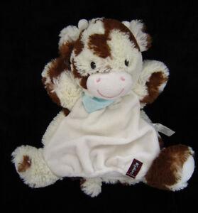 Doudou-Marionnette-Vache-Les-Amis-Milky-blanche-marron-foulard-bleu-Kaloo-28-cm