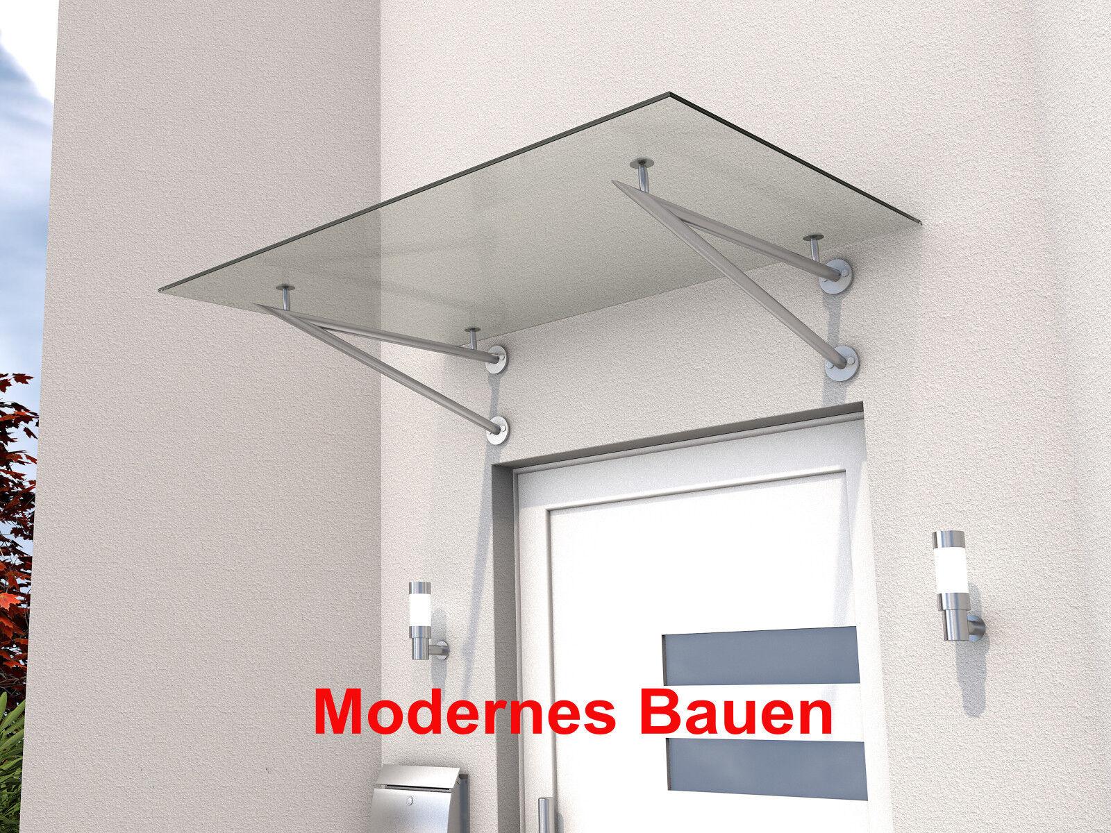 GUTTA Vordach Pultvordach HD V Edelstahl Größe 140 x 90 cm VSG klar 10 mm Blende