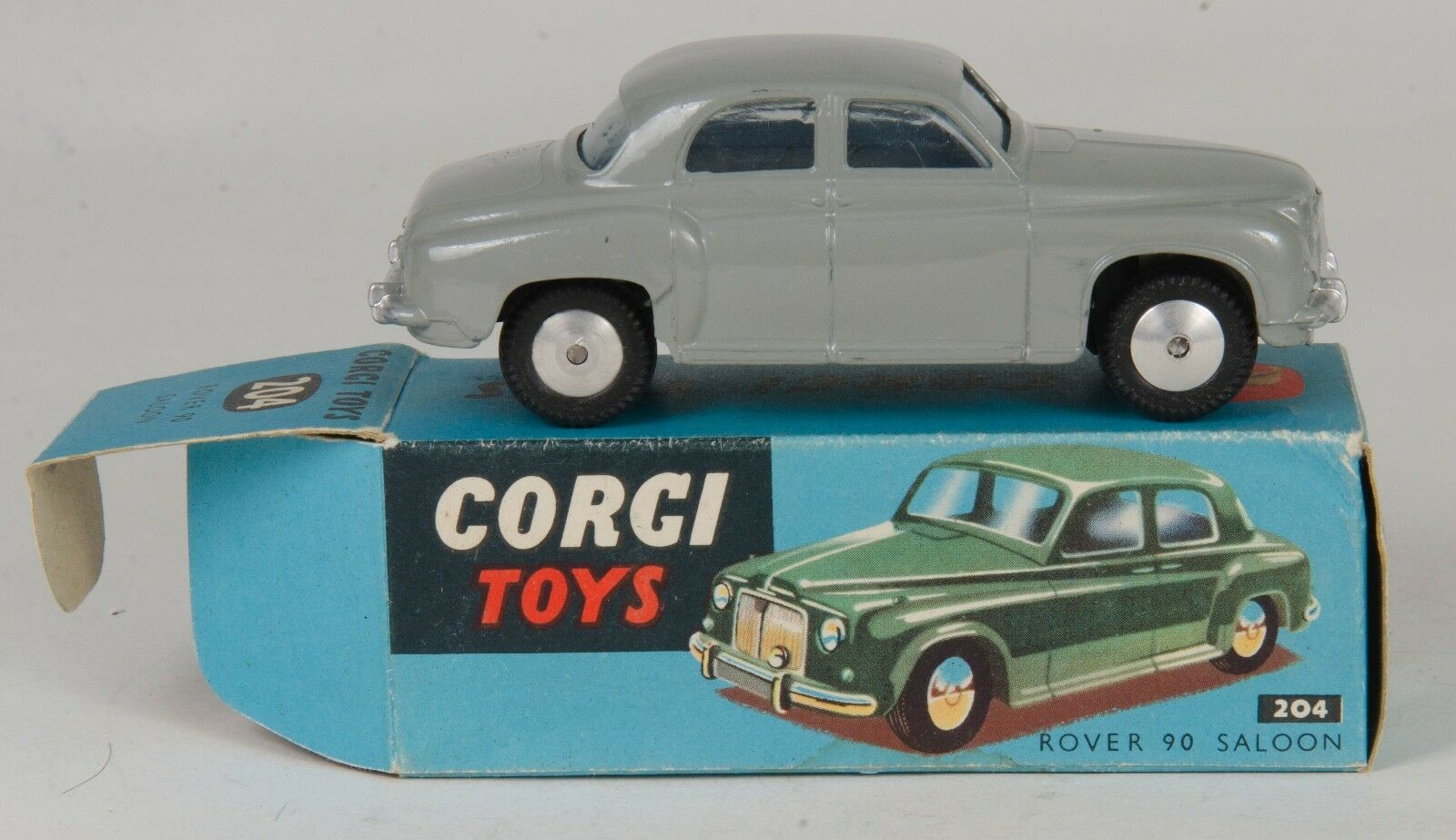 Corgi 204 Rover 90 Saloon. Grey. Near-MINT. In Rare bluee Box. Original 1950's