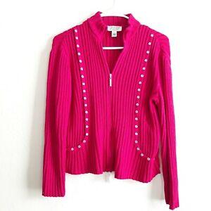 St-John-Sport-By-Marie-Gray-Santana-Rib-Knit-Zip-Front-Sweater-Size-P-Fushia