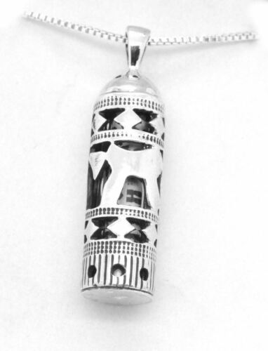 """Details about  /Sterling Silver Mezuzah Pendant non Kosher Scroll Chai Life 20/"""" Necklace ISRAEL"""