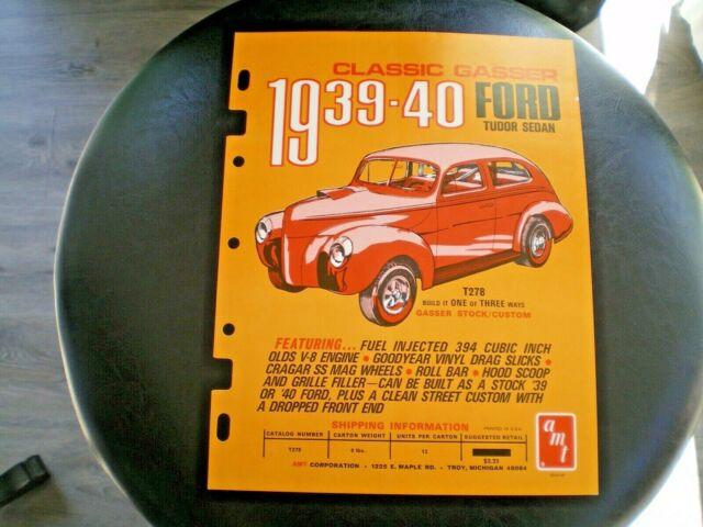 AMT Original 1970 1939-40 Ford Tudor Sedan classic gasser color Dealer Flyer