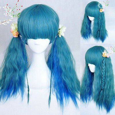 Harajuku Blue Hair Corn Curly Wavy Wig Long Wig Lolita Costume Lady Full Wig