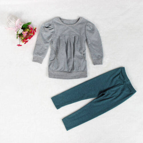 Toddler Kids Girls Boys Outfit Clothes Warm Long Sleeve T-shirt Pants 1 Set New