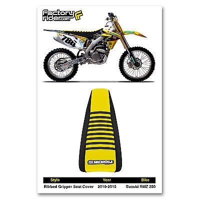 2010-2018 SUZUKI RMZ 250 Black//Yellow//Black RIBBED SEAT COVER BY Enjoy MFG