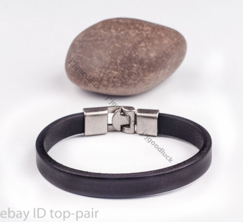 Simply Real Good Quality Leather Band Wrap Bracelet Wristband Men/'s Cuff BLACK